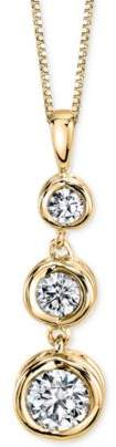 Sirena Diamond Three Stone Drop Pendant Necklace (1/2 ct. t.w.) in 14k Gold or White Gold