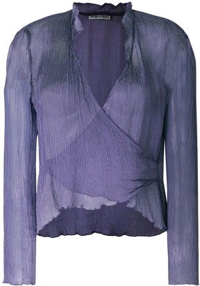 Giorgio Armani Pre-Owned wrapped front sheer blouse