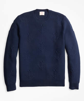 Brooks Brothers Anchor-Embroidered Crewneck Sweater
