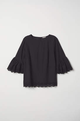H&M H&M+ Flounce-sleeved Blouse - Black