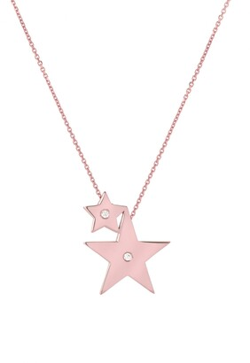 Mini Mini Jewels Forever Collection - Double Star Diamond Pendant Necklace