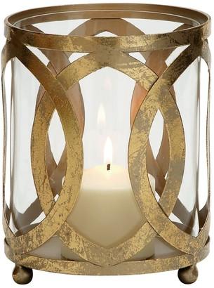 Geometric Gold Finish Metal & Glass Candle Lantern