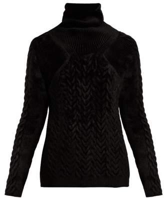 Haider Ackermann Aralia Cable Knit Velvet Sweater - Womens - Black