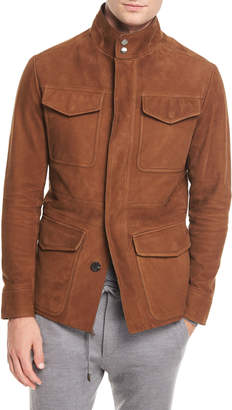 Ermenegildo Zegna Four-Pocket Suede Safari Jacket