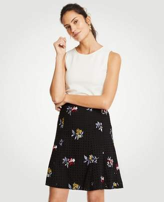 Ann Taylor Embroidered Floral Eyelet Full Skirt