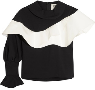 Ruffled Faux Leather-trimmed Crepe Top - Black