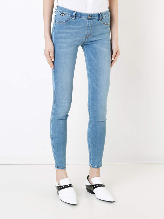 Love Moschino embroidered heart skinny jeans