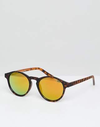 Pull&Bear Round Frame Tortoiseshell Sunglasses With Mirrored Lenses