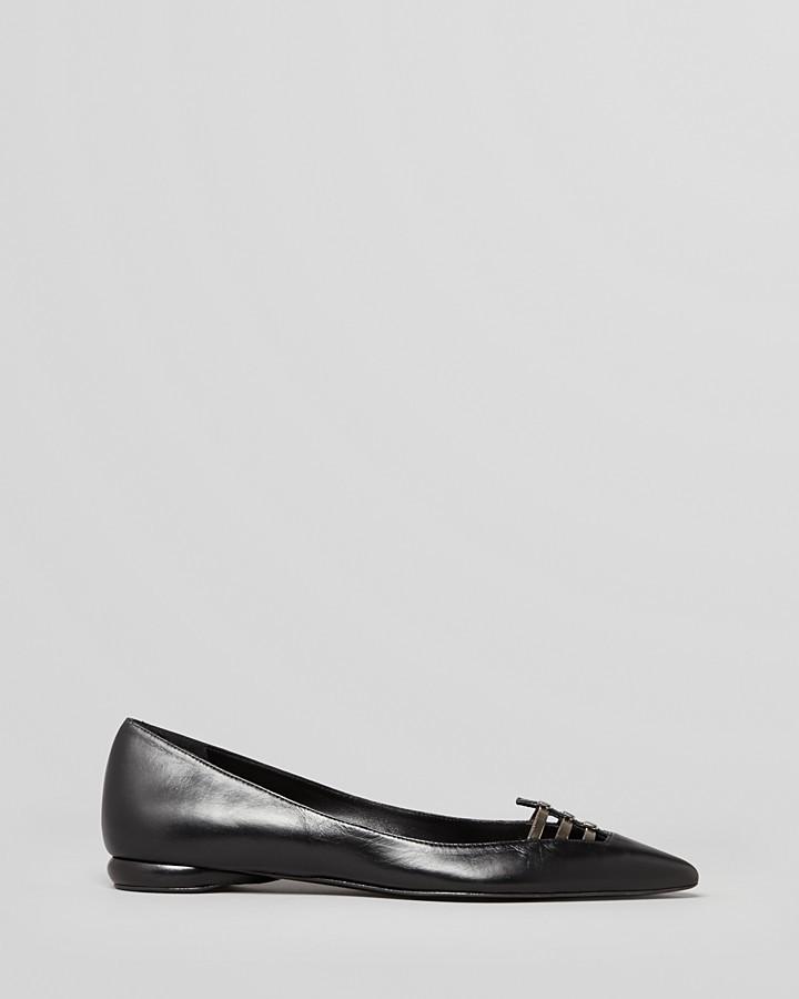 Delman Pointed Toe Flats - Slim