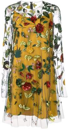 Oscar de la Renta sheer-styled dress with floral embroidery