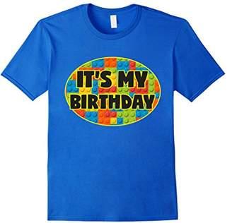 Birthday Shirt For Boys It's My Birthday Blocks Bricks Theme