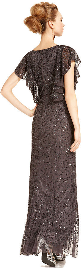 JS Collections Short-Sleeve Beaded Sequined Gown