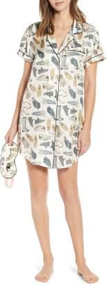 cjw Shoe Goals Silk Blend Sleep Shirt & Eye Mask