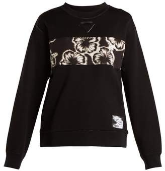 Prada Hibiscus Applique Sweatshirt - Womens - Black Multi