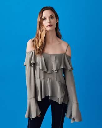 Nicole Miller solid Silk Ruffle Top