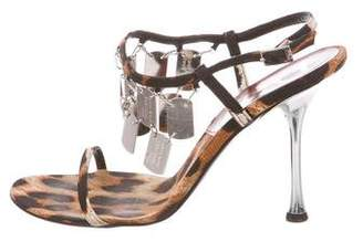 Christian Dior Embellished Animal Print Sandals