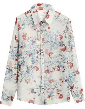 Erdem Floral-Print Silk-Chiffon Shirt