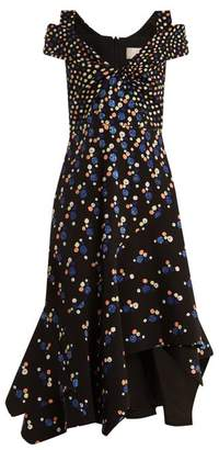Peter Pilotto Off The Shoulder Dot Print Stretch Cady Dress - Womens - Navy Print