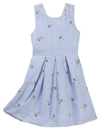 Blush by Us Angels Embroidered Woven Stripe Dress (Big Girls)