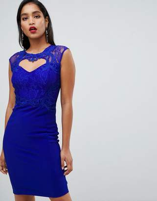 Lipsy Sweetheart Bodycon Dress With Lace Trim