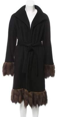 J. Mendel Sable-Trimmed Knee-Length Coat