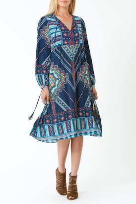 Hale Bob Amity Long Sleeve Midi Dress
