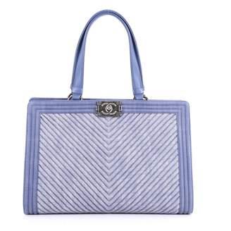 Chanel Boy Tote Blue Denim - Jeans Handbag