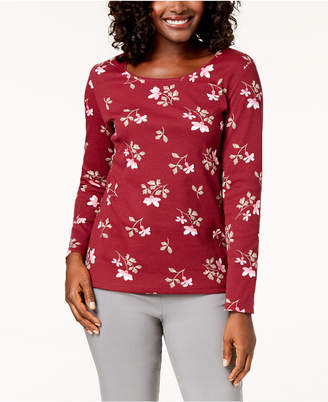Karen Scott Printed Scoop-Neck T-Shirt