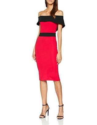 Quiz Women's /Black Crepe Bardot MIDI A-Line Plain Short Sleeve Skirt,(Manufacturer Size:)