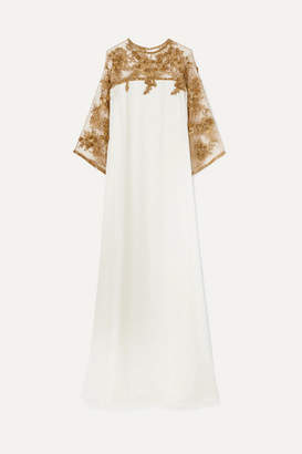 Marchesa Embellished Tulle-trimmed Silk Gown - Ivory