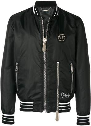 Philipp Plein logo back bomber jacket