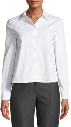 Emporio Armani Button-Front Long-Sleeve Stretch Poplin Shirt w/ Pleated Back