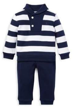 Ralph Lauren Baby's Two-Piece Stripe Shawl Sweater& Pants Set