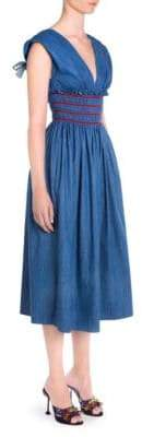 Miu Miu Empire Waist Denim A-Line Dress