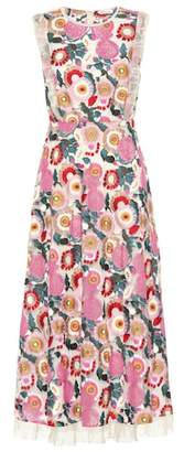 RED Valentino Tulle-trimmed floral midi dress