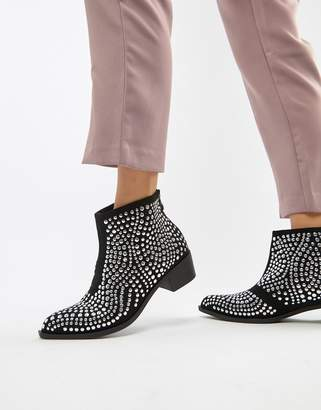 Glamorous mid heeled studded ankle boots