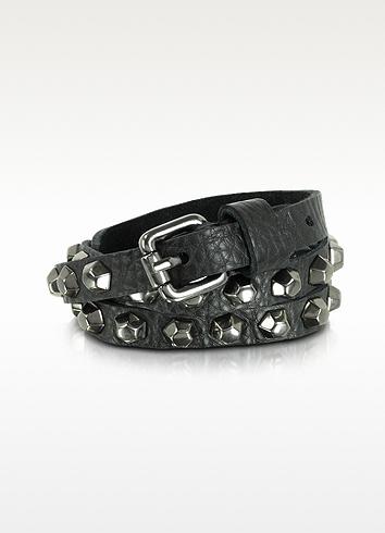 Zadig & Voltaire Jessy Boulons - Black Leather Studded Belt