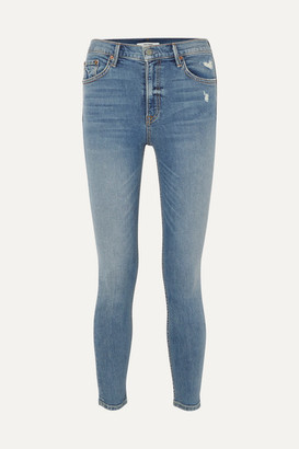 GRLFRND Kendall Distressed High-rise Skinny Jeans - Mid denim