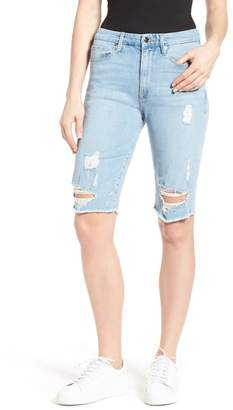Good American Destroyed Denim Bermuda Shorts (Blue 039) (Extended Sizes)