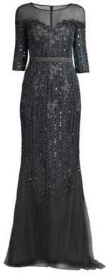 Basix Black Label Mesh Embellished Gown