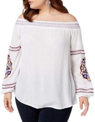INC International Concepts Plus Off-the-Shoulder Embroidered Gauze Top
