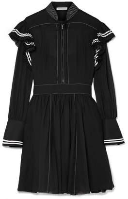 Philosophy di Lorenzo Serafini Ruffled Striped Cotton-muslin Mini Dress - Black