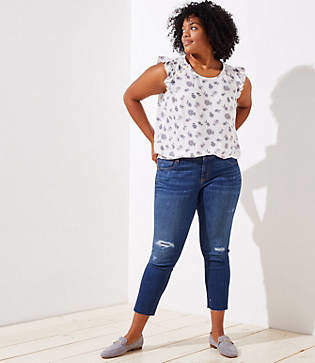 LOFT Plus Destructed Straight Leg Jeans in Mid Indigo Wash