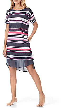 DKNYDKNY Striped Jersey & Chiffon Sleepshirt