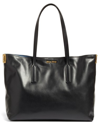 Miu Miu Miu Miu Large Calfskin Leather Shopper - Ivory