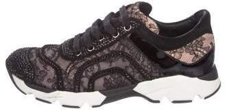 Rene Caovilla Lace Low-Top Sneakers