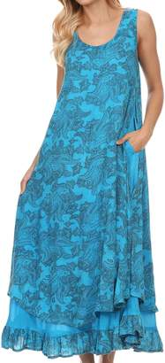 Sakkas 16222 - Paak Tall Long Batik Paisely Print Ruffle Hem Lined Caftan Tank Top Dress