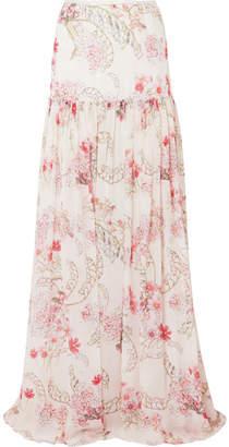 Giambattista Valli Floral-print Silk-chiffon Maxi Skirt - Ivory