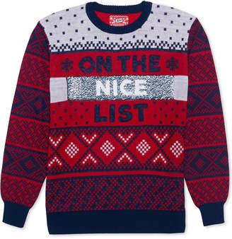 Hybrid Naughty-Nice List Men's Reversible Sequin Sweater