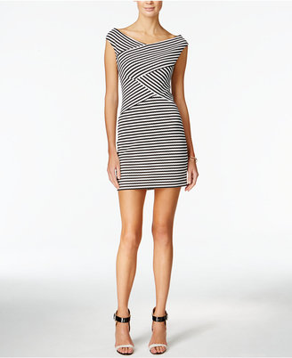 Guess Cap-Sleeve Off-the-Shoulder Striped Bodycon Dress $118 thestylecure.com